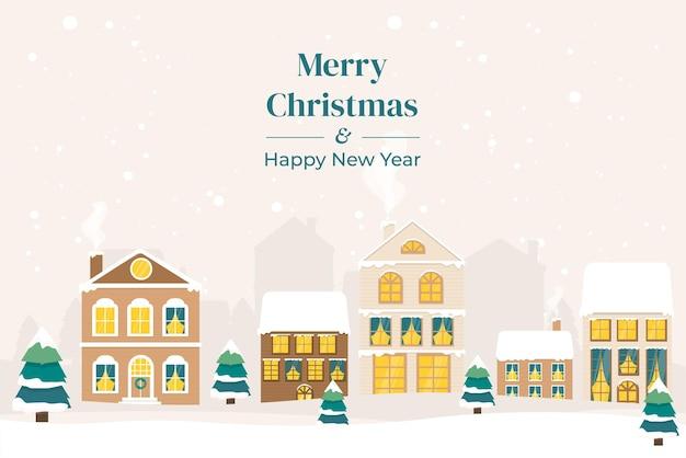Zimowy krajobraz. zimowa wioska bożego narodzenia. kolorowy dom. ilustracja wektorowa