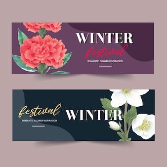 Zimowy kwiat banner z piwonii, kwiat