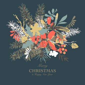 Zimowy kwiatowy akwarela kartkę z życzeniami z gałęzi ostrokrzewu, kwiatów i jagód
