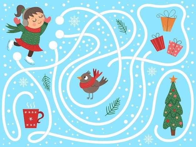 Zimowy labirynt dla dzieci. świąteczna aktywność przedszkolna.