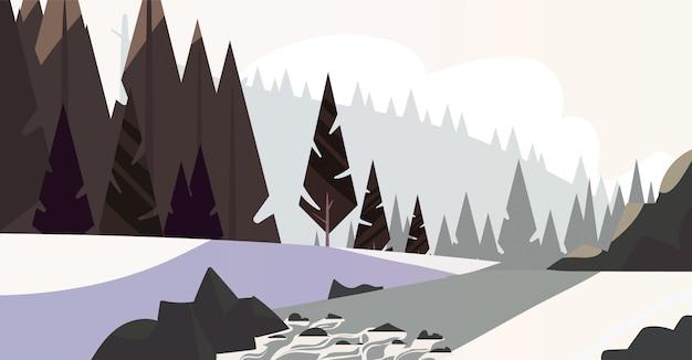 Zimowy las naturalny krajobraz w stylu cartoon. ilustracja płaski krajobraz