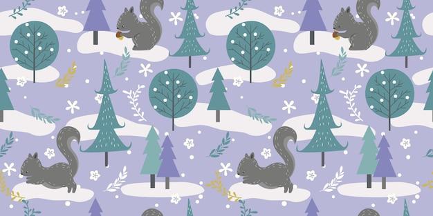Zimowy las w wzór