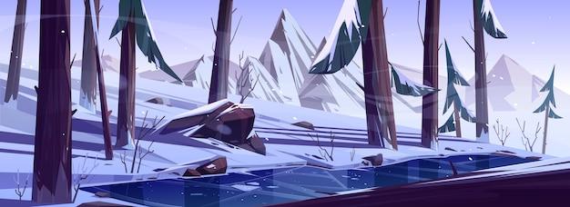 Zimowy las z zamarzniętym stawem. krajobraz przyrody z drzewami iglastymi i górami pokrytymi śniegiem, dziki park lub ogród z lodowatym jeziorem, skałami, sosnami i krzewami, ilustracja kreskówka wektor