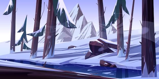 Zimowy las z zamarzniętym stawem.