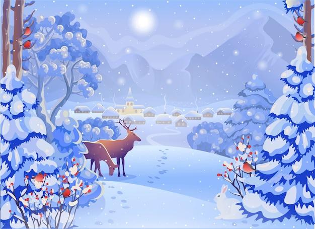 Zimowy mglisty krajobraz leśny z wioską, górami, jeleniami, choinką, królikiem, gilem, słońcem. ilustracja wektorowa w stylu cartoon. kartka świąteczna.