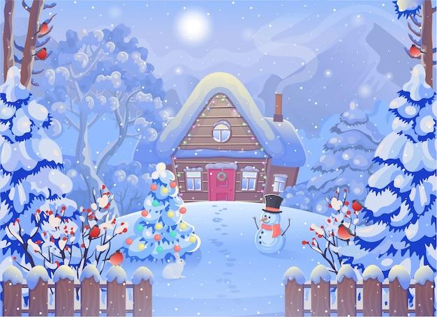 Zimowy mglisty las z drewnianym domem, górami, bałwanem, płotem, choinką, królikiem, gilem, słońcem. ilustracja wektorowa w stylu cartoon. kartka świąteczna.