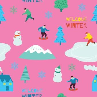 Zimowy motyw zestaw bez szwu wzór