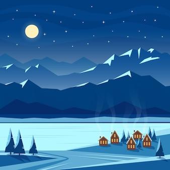 Zimowy noc śnieg krajobraz z księżycem, górami, wzgórzami, jodłami, przytulnymi domami z oświetlonymi oknami, rzeką, jeziorem. boże narodzenie i nowy rok powitalny. płaska ilustracja.