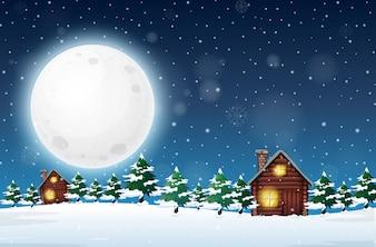 Zimowy noc wiejski krajobraz