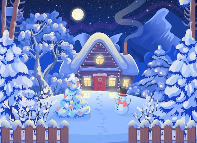 Zimowy nocny krajobraz lasu z drewnianym domem, górami, księżycem i gwiaździstym niebem, bałwanem, choinką. ilustracja wektorowa w stylu cartoon. kartka świąteczna.