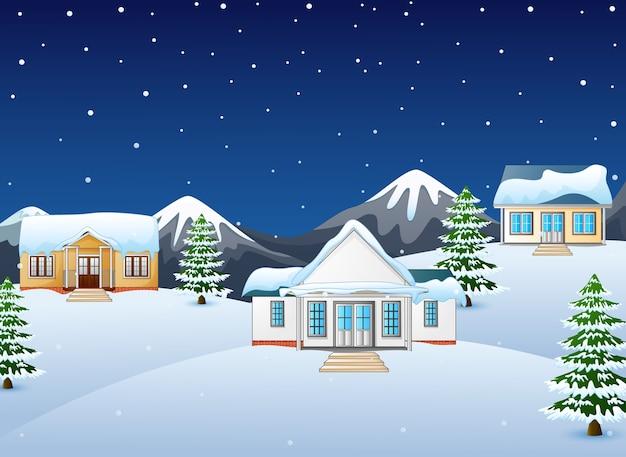Zimowy nocny krajobraz z góry i jodły
