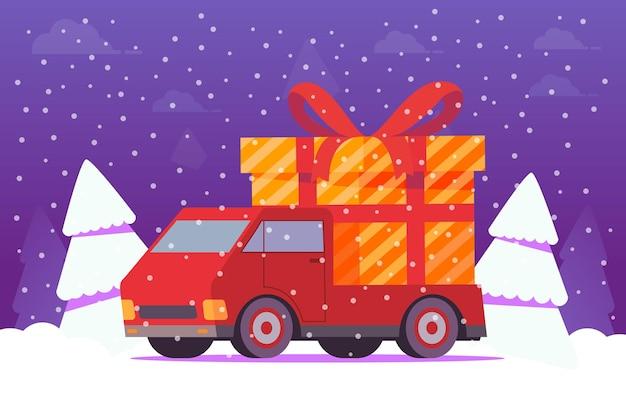 Zimowy nocny krajobraz z jodłami. ciężarówka z prezentami. pudełko z czerwoną wstążką. dostawa prezentów świątecznych. widok z boku pojazdu.