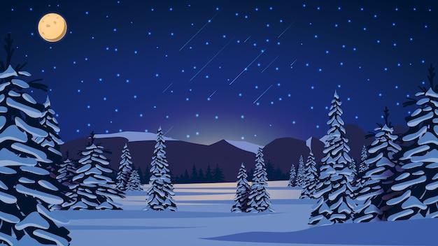 Zimowy nocny krajobraz z zaśnieżonymi sosnami, wzgórzami na horyzoncie, niebieskim gwiaździstym niebem, dużym księżycem i ośnieżonymi równinami.