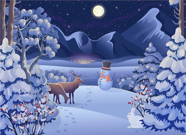 Zimowy nocny las z jeleniami, królikiem, wioską, górami, księżycem i gwiaździstym niebem. ilustracja wektorowa w stylu cartoon. kartka świąteczna.