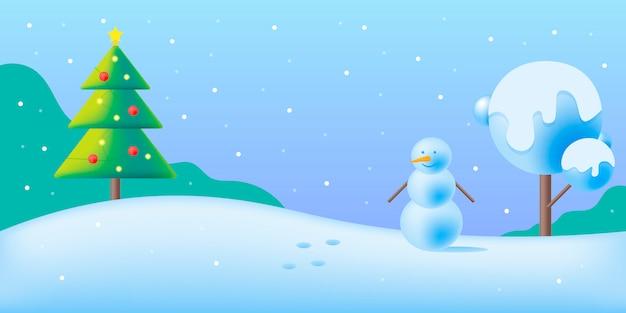 Zimowy obraz lub baner ze świętami i śniegiem w kolorach niebieskim i zielonym