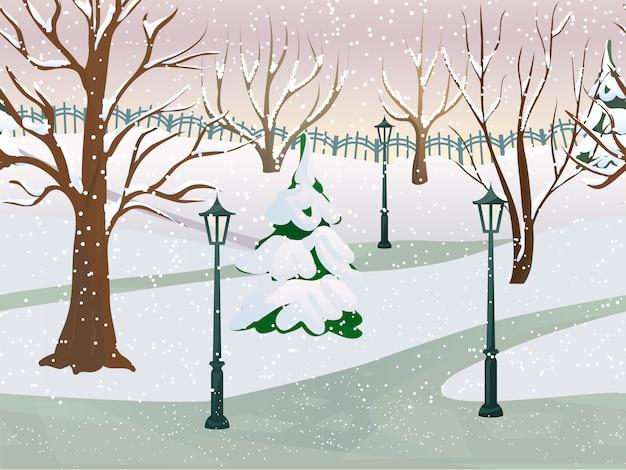Zimowy park 2d krajobraz gry
