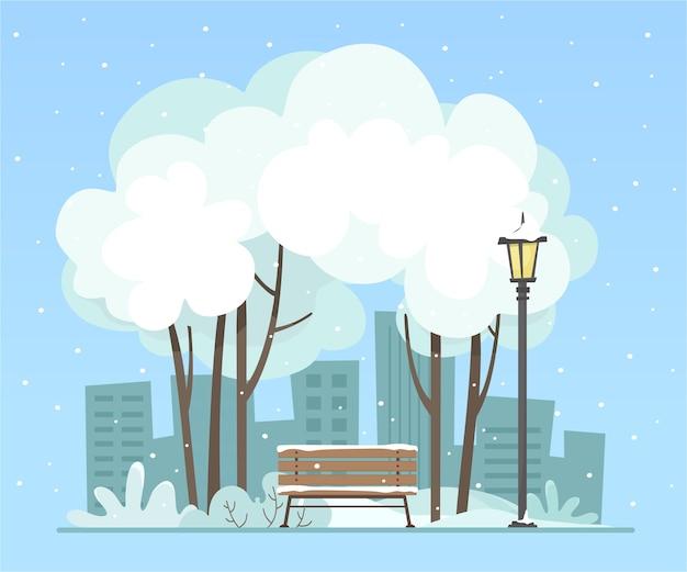 Zimowy park miejski. krajobraz. w stylu płaskiej.