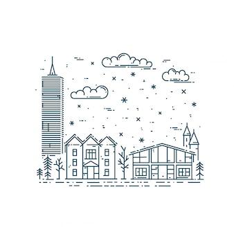 Zimowy pejzaż miejski w modnym stylu liniowym
