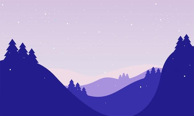Zimowy pejzaż tło w stylu cartoon