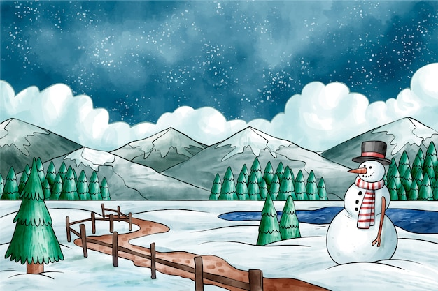 Zimowy pejzaż w stylu przypominającym akwarele