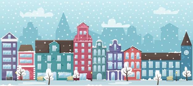 Zimowy pejzaż z europejskimi domami i śniegiem. płaska ilustracja.