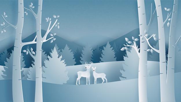 Zimowy pejzaż z jelenia para w lesie w stylu cięcia papieru.