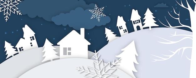 Zimowy pejzaż z jelenia wycinanka i jodły w śniegu. świąteczny poziomy baner z tekstem wesołych świąt, wsi i latające sanie świętego mikołaja w nocne niebo z gwiazdami, opadami śniegu i księżycem.
