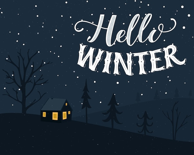 Zimowy pejzaż z małym domkiem w lesie pocztówka ręcznie napis hello winter styl vintage