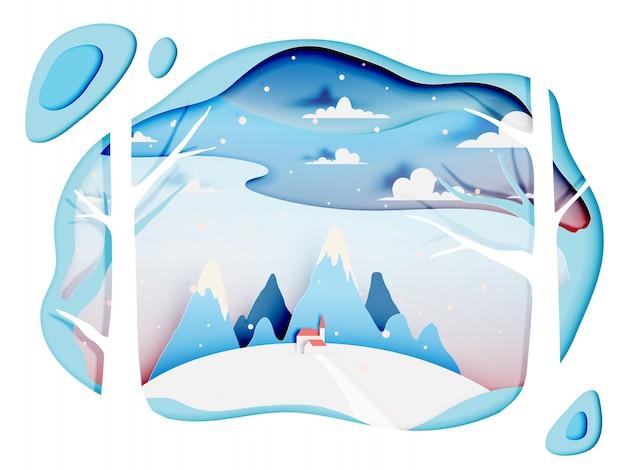 Zimowy pejzaż z papierowym stylem i pastelową kolorystyką