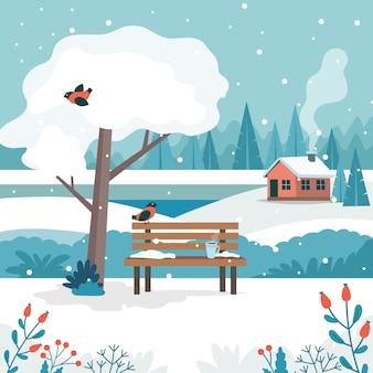 Zimowy pejzaż z uroczą ławką