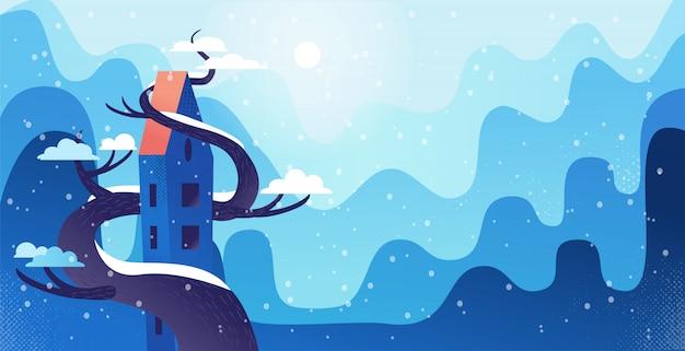 Zimowy pejzaż z wysokim domem oplecionym dużym drzewem, w nowoczesnym stylu kreskówek z fakturami i gradientami. pagórkowaty krajobraz z opadami śniegu.