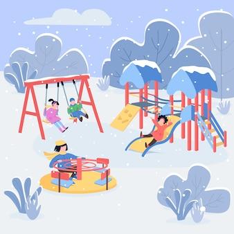Zimowy plac zabaw płaski kolor ilustracja
