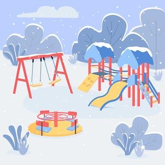 Zimowy plac zabaw w płaskim kolorze. pusty park dla dzieci zimą. huśtawka, zjeżdżalnia i rondo. wyposażenie placów zabaw krajobraz kreskówka 2d z śnieżnym lasem na tle