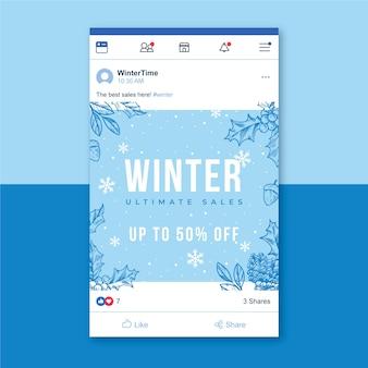 Zimowy post na facebooku z płatkami śniegu