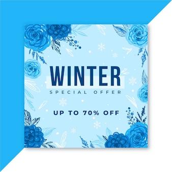 Zimowy post w mediach społecznościowych na instagramie