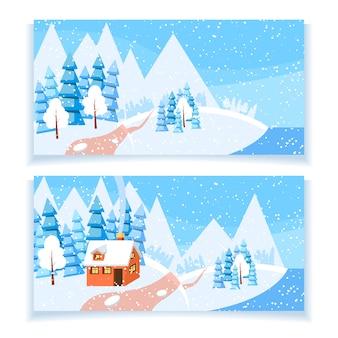 Zimowy poziomy baner