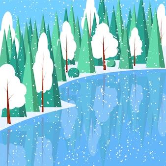 Zimowy poziomy krajobrazowy sztandar płaski styl