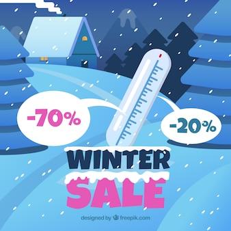Zimowy projekt sprzedaży z termometrem