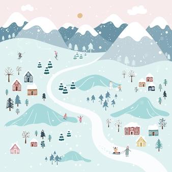 Zimowy ręcznie rysowany styl, urocze i zabawne postacie.