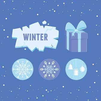 Zimowy sezon sprzedaży lodu pudełko płatki śniegu dekoracji ilustracja