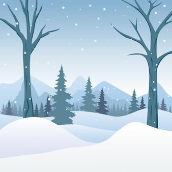 Zimowy śnieżny krajobraz z zwalonym drzewem nad rzeką