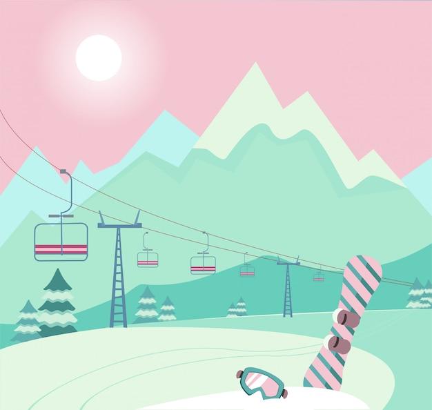 Zimowy śnieżny krajobraz ze sprzętem narciarskim snowboard i gogle narciarskie