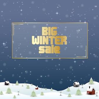 Zimowy sprzedaż tło z krajobrazem wsi