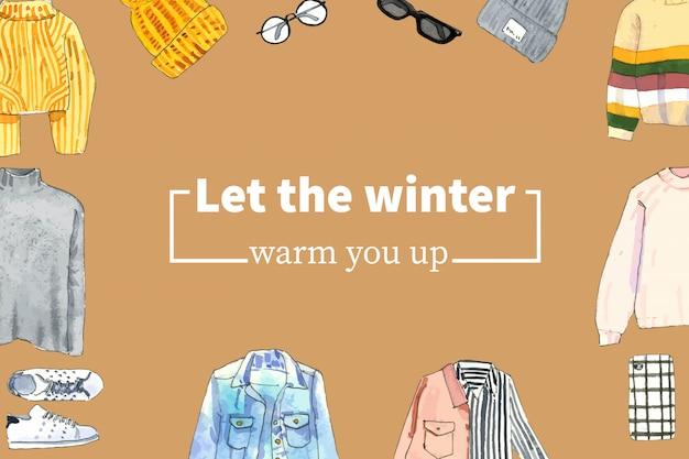 Zimowy styl rama projekt z sweter, wełniany kapelusz, okulary akwarela ilustracja.