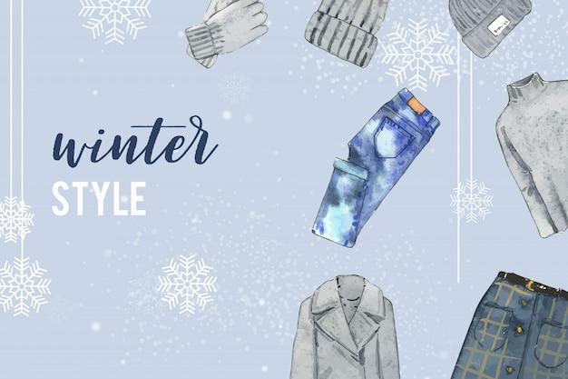 Zimowy styl tło z wełny kapelusz, rękawiczki, płaszcz akwarela ilustracja.
