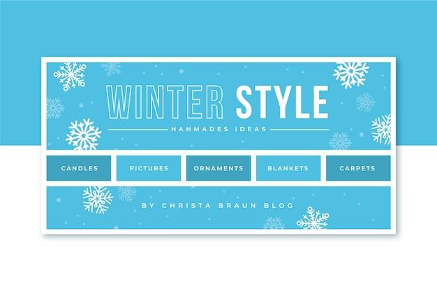 Zimowy szablon nagłówka bloga z płatkami śniegu