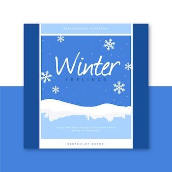 Zimowy szablon okładki cd z płatki śniegu
