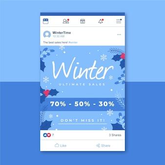 Zimowy szablon postu na facebooku