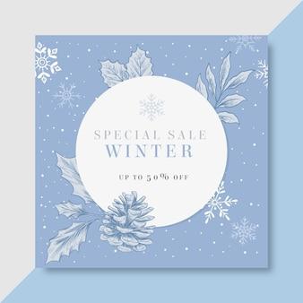 Zimowy szablon postu na instagramie
