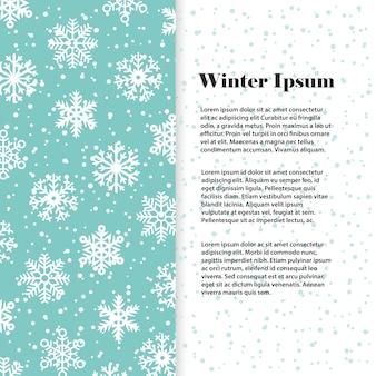 Zimowy szablon transparent lub ulotki z białymi płatkami śniegu